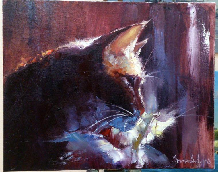 урок живописи в спб, пишем пейзаж, пишем картину, нарисовать кота, котик