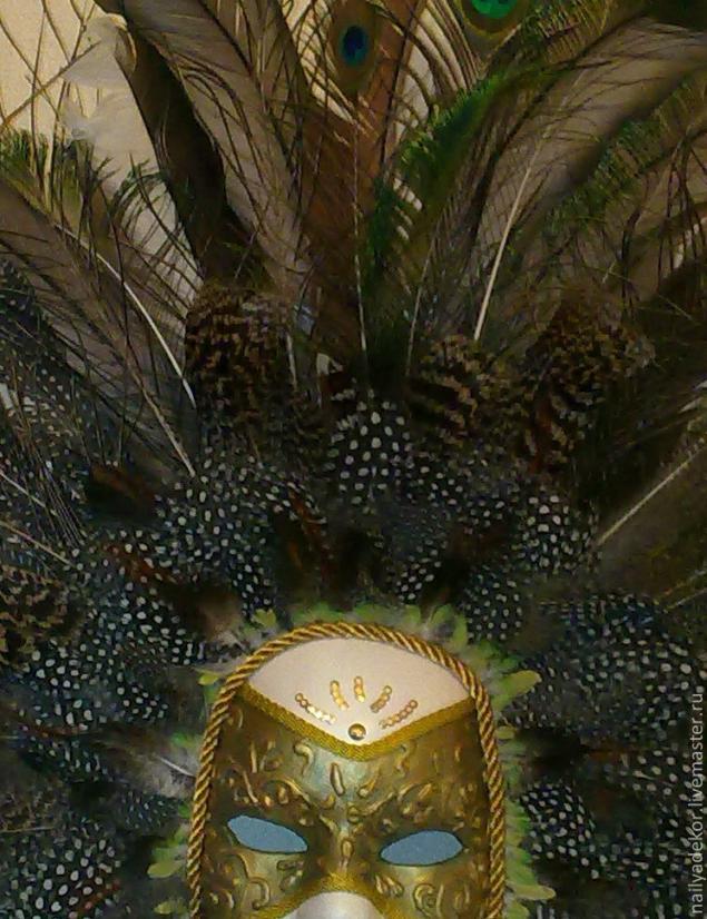 Изготовление венецианской маски с перьями.Техника папье-маше., фото № 14