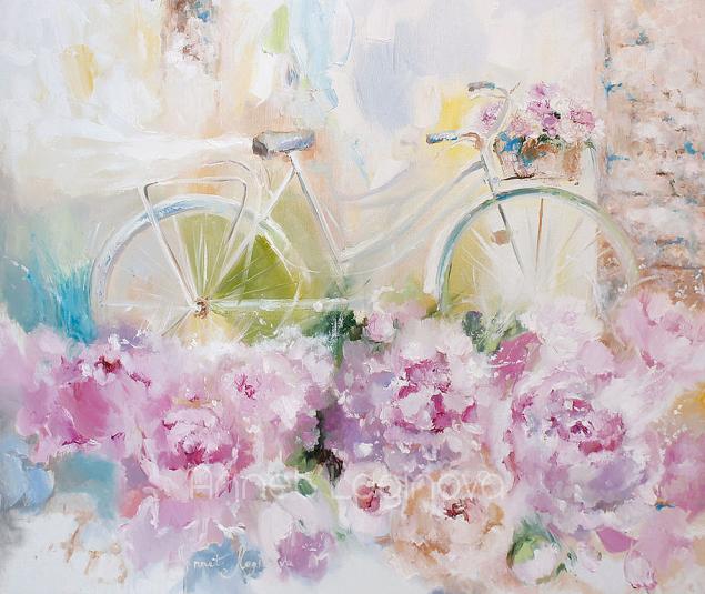велосипеды, велосипеды на картинах, велосипед с пионами, пионы в картинах, картины с пионами, прованс