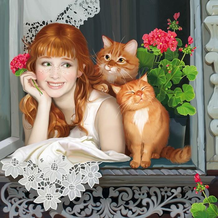 Обнаженная рыжая тетка играет с котом  184956