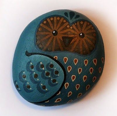 Owls painted on rocks by Lori-Lee Thomas - can also add magnets to the back