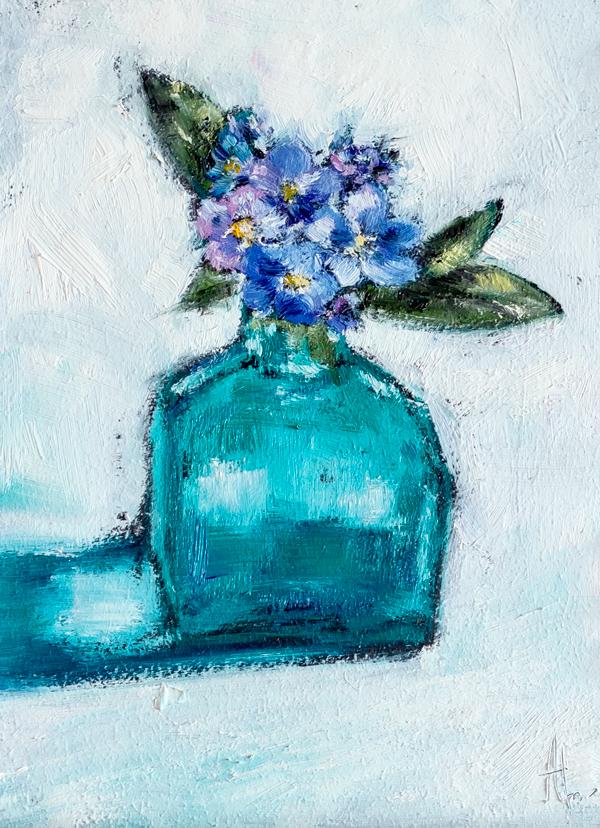 каждый день по картине, живопись, масло, натюрморт, цветы, ваза, незабудки, daily paintings