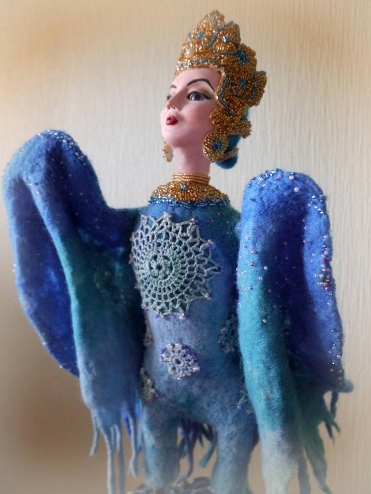 птица-феникс, фильцевание, каркасная кукла