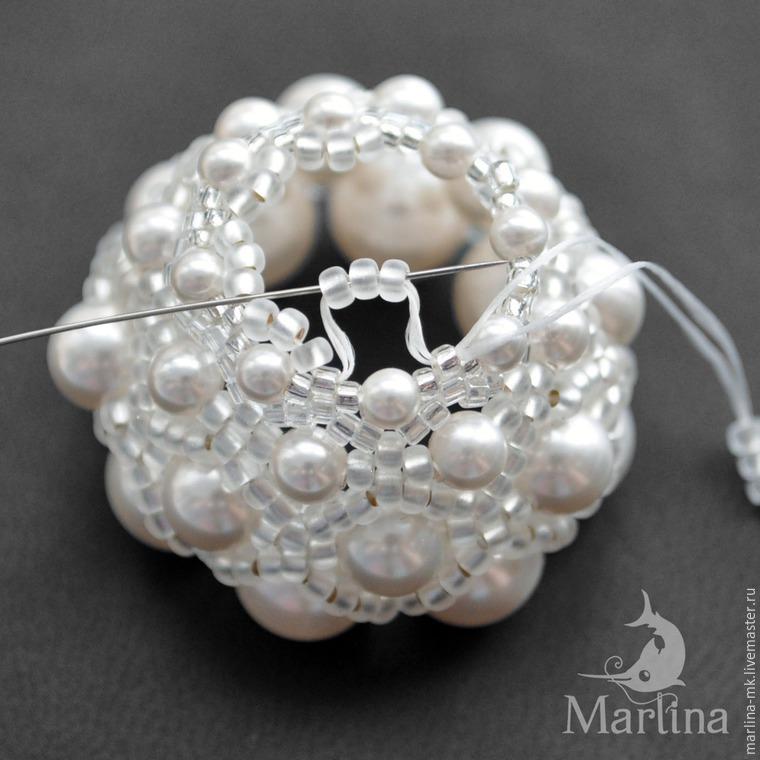 Jellyfish Pendant DIY with Pearls and Swarovski Crystals, фото № 21