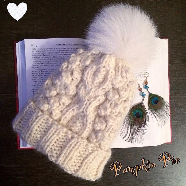 вязаная шапка, варежки, вязание, pumpkin pie