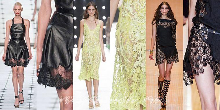 Платье из кружева и кожи