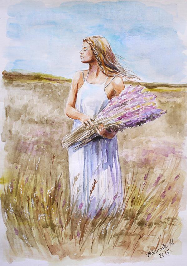 картины пастелью, девушка на лугу, солнечный день, нежность
