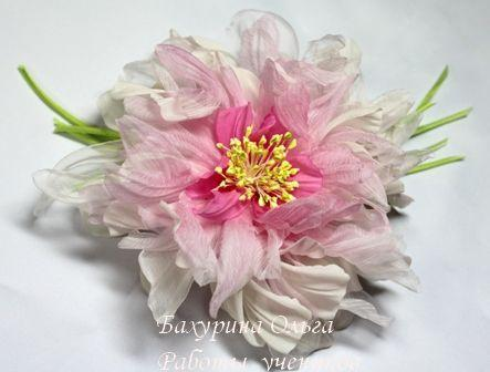 цветы, цветы из ткани, брошь цветок