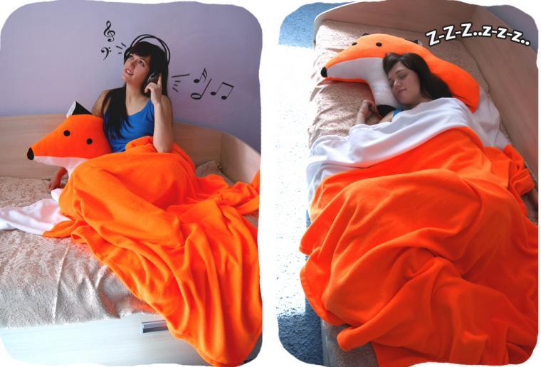 подушка-игрушка, покрывало, лисичка