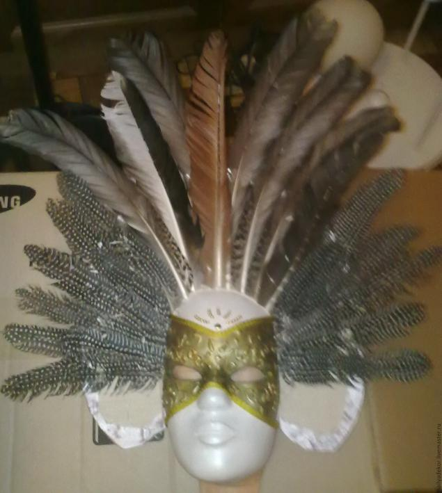 Изготовление венецианской маски с перьями.Техника папье-маше., фото № 12