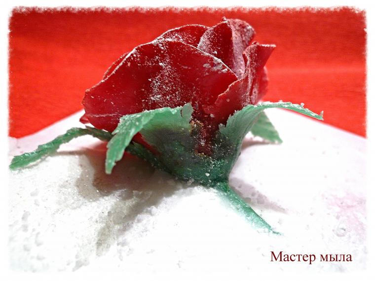 роза в снегу, роза из мыла