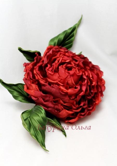 цветы из ткани, украшения с цветами, роза из шёлка