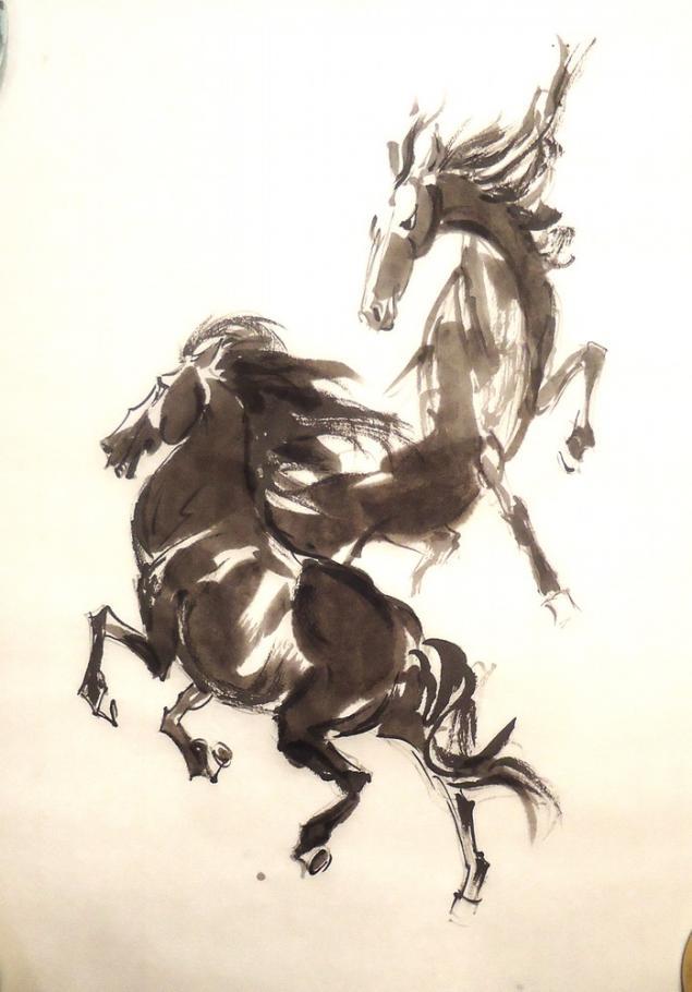 обучение живописи, обучение рисованию, арттренинги, тренинг, мастеркласс, картина, живопись, лошади, суми-е, иероглифы, натали котова