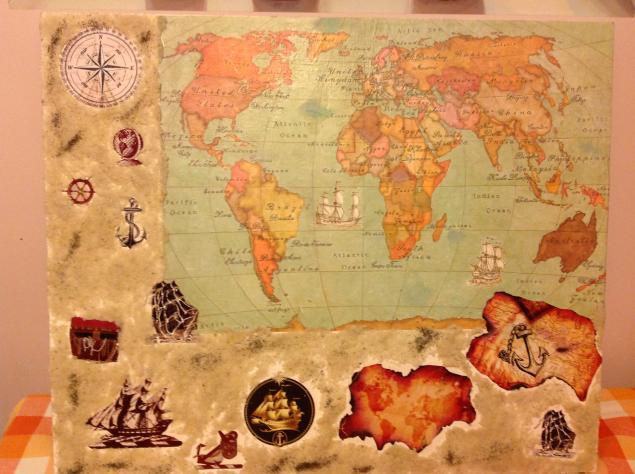карта мира, карта обжиг, карта на холсте, морская тематика, страны мира