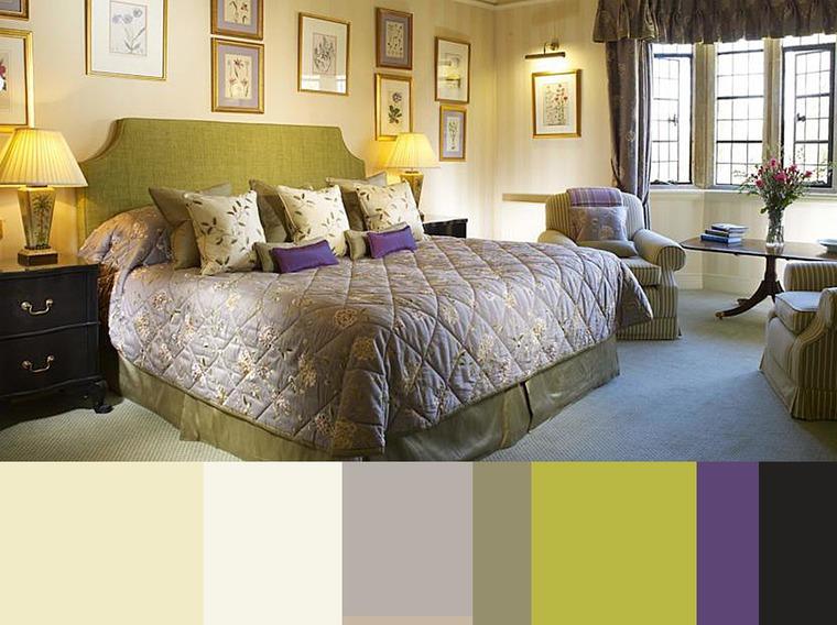 дизайн спальни, мебель, картины