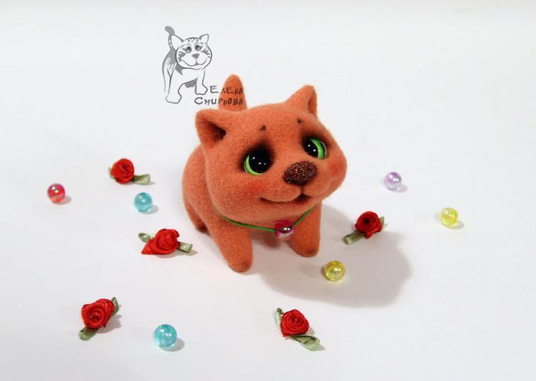 игрушка из шерсти, кот из шерсти