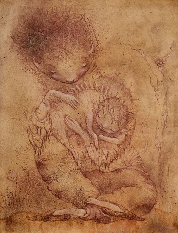 новые работы, теплое пространство, состаренная бумага, мать и дитя, картины фэнтези