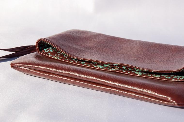 клатч ручной работы, клатч коричневый, рислет, сумки из ткани