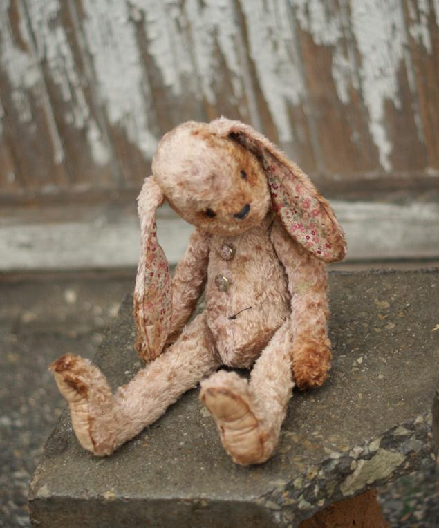 винтаж, ретро игрушки, заяц вискоза