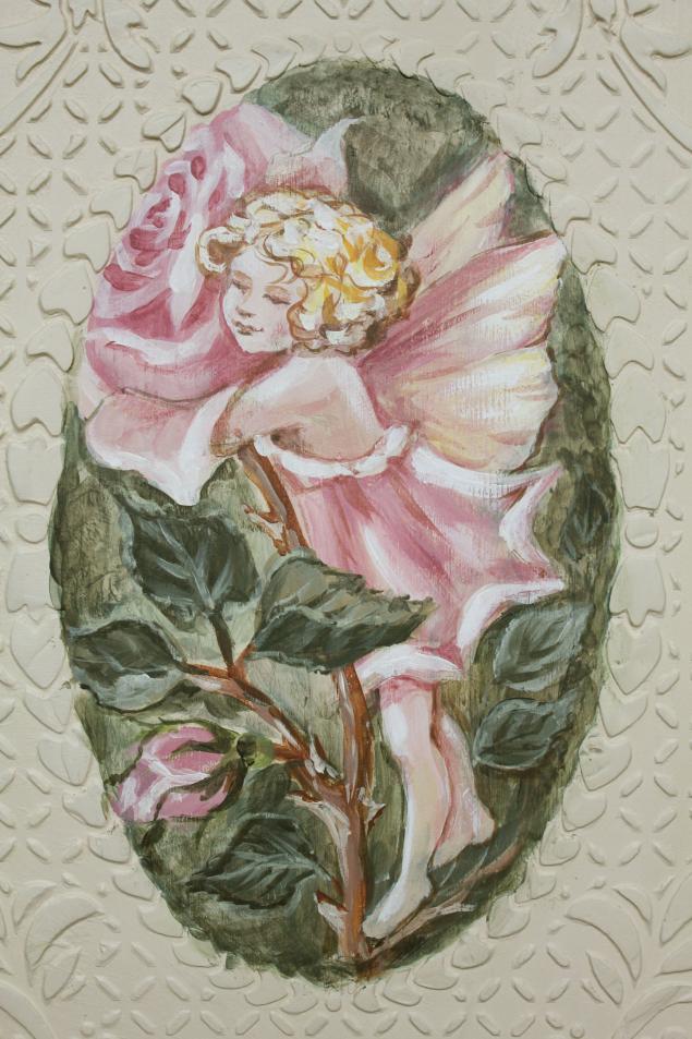 роспись по дереву, винтажный стиль, фея, рисунок