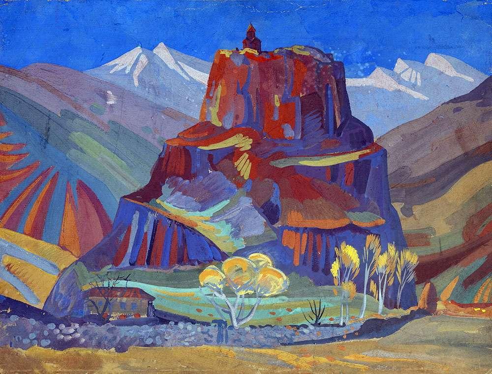 1923 View of Bjini Fortress, Armenia.. Tempera on card, 57x75.5 - Сарьян Мартирос Сергеевич
