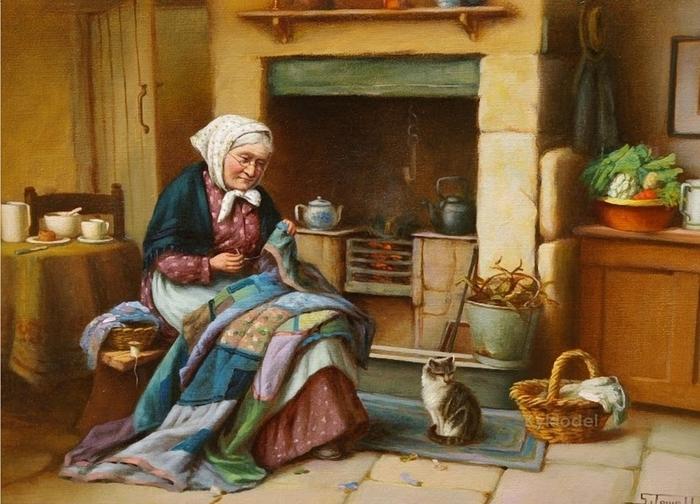 S__Jowett_(19th_Century_British)_Stitching_the_Quilt (700x504, 285Kb)