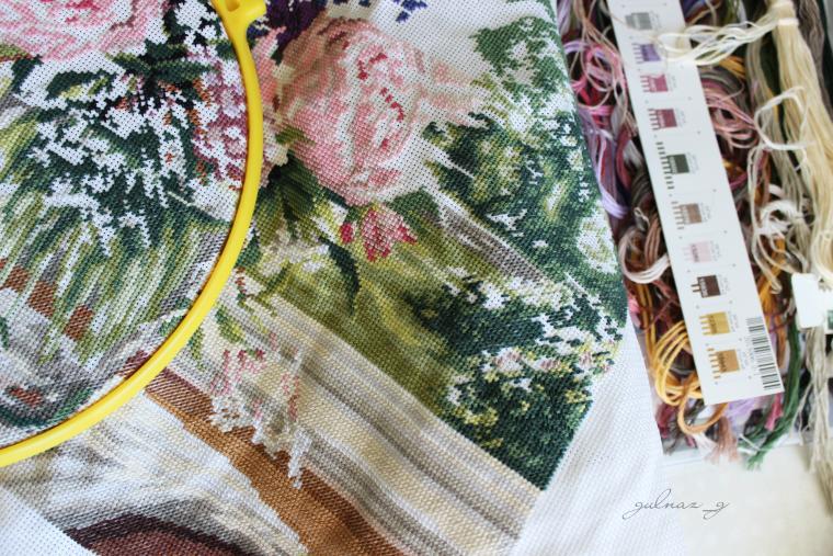 вышивка, работа, вышитая картина, рукоделие, цветы, весна
