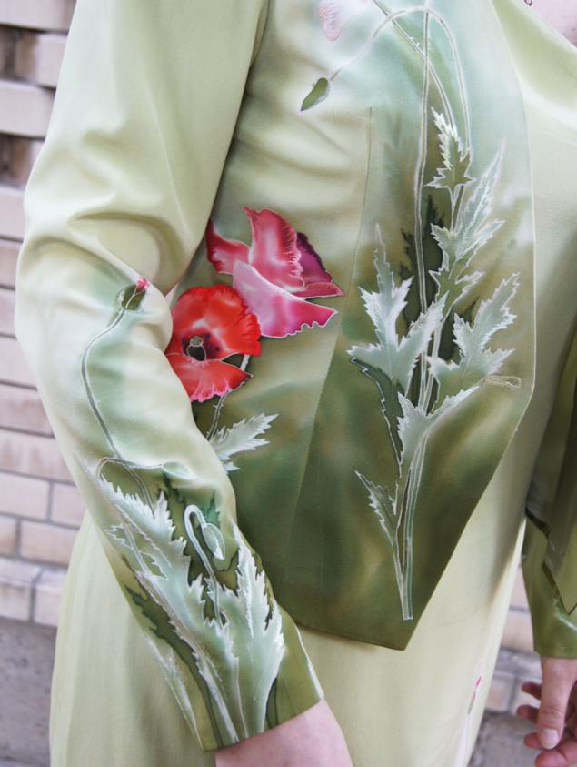 костюм, жакет шелковый, вечерний наряд, маки