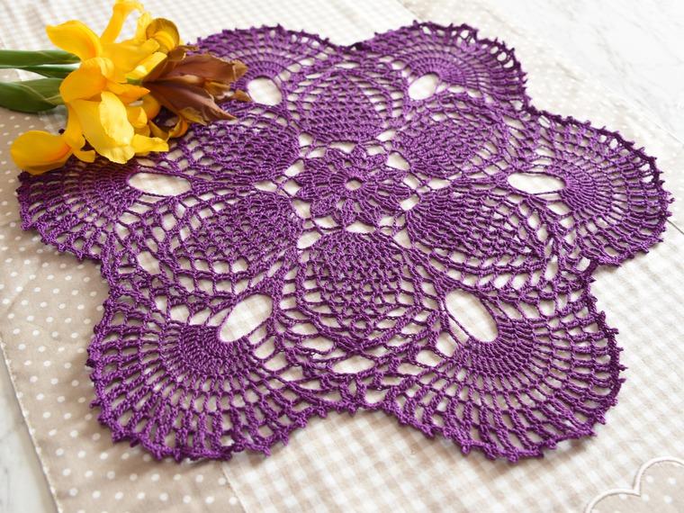 вязание, цвет, ажурный узор, салфетка крючком