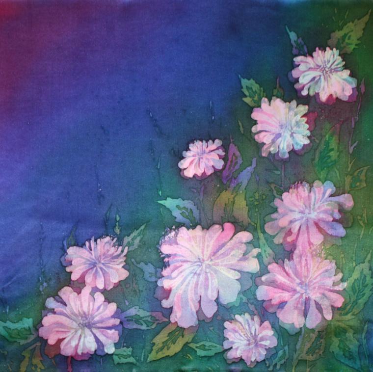 мастер-класс, уроки батика, ручная роспись, платок с цветами