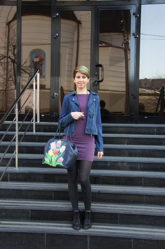сумка, тюльпаны, зима, модный аксессуар