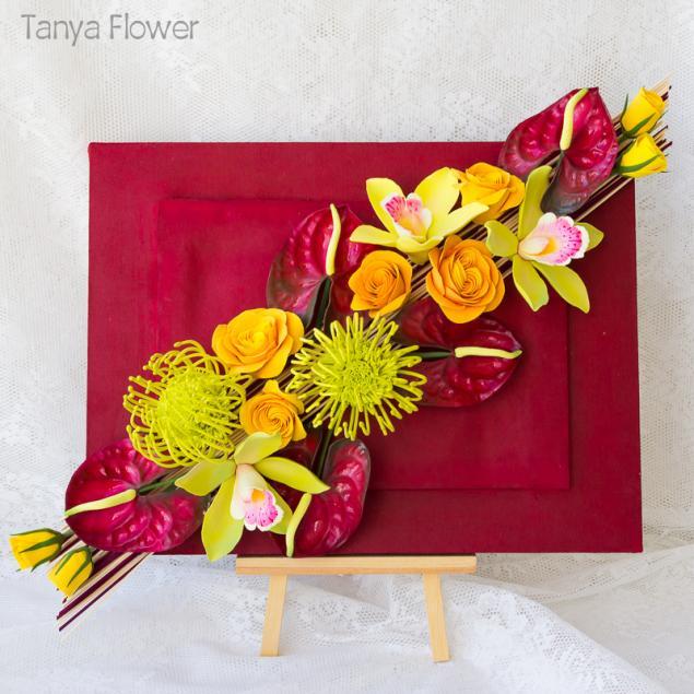 цветочная картина, оформление цветами, орхидеи в интерьере, букет цветов