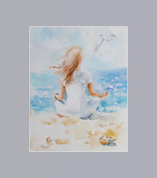 море, он и она, подарок паре, акварель