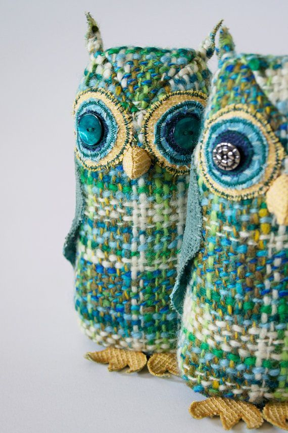 Handmade Fabric Bird Owl / Blue and Green by BlueTerracotta.
