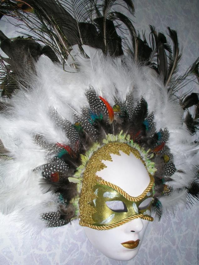 Изготовление венецианской маски с перьями.Техника папье-маше., фото № 16