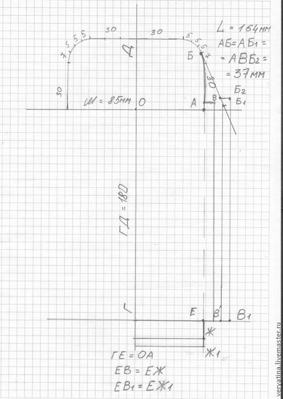 Выкройка для очечника с прямоугольным фермуаром.