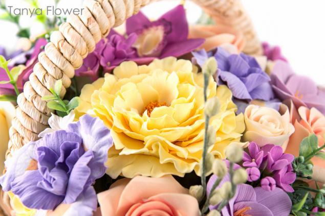decoclay, букет цветов, розы, орхидеи, интерьерная композиция