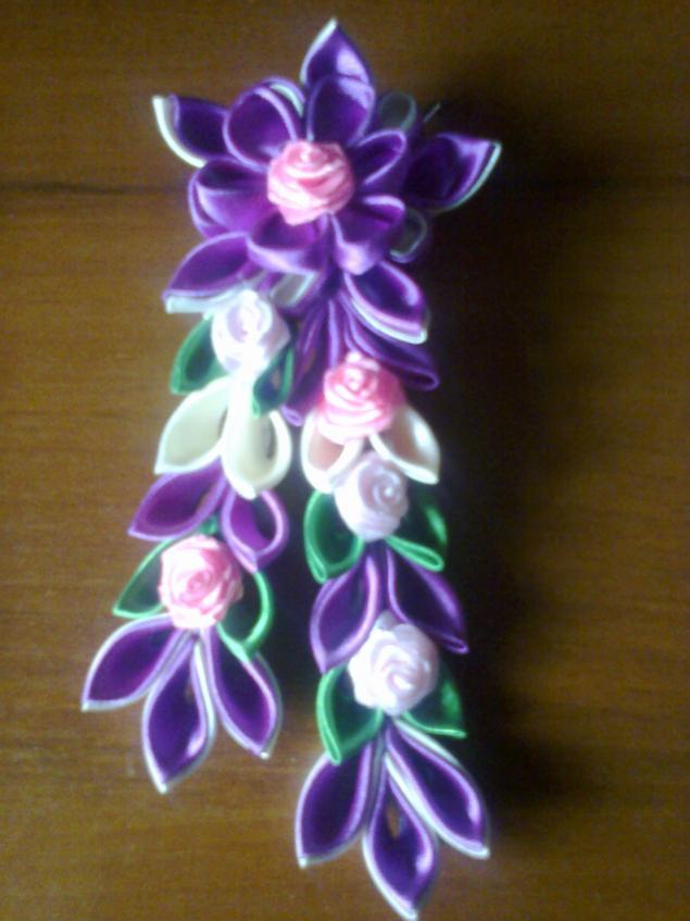 канзаши, заколка для волос, аксессуары, украшения ручной работы, украшения с цветами, украшения
