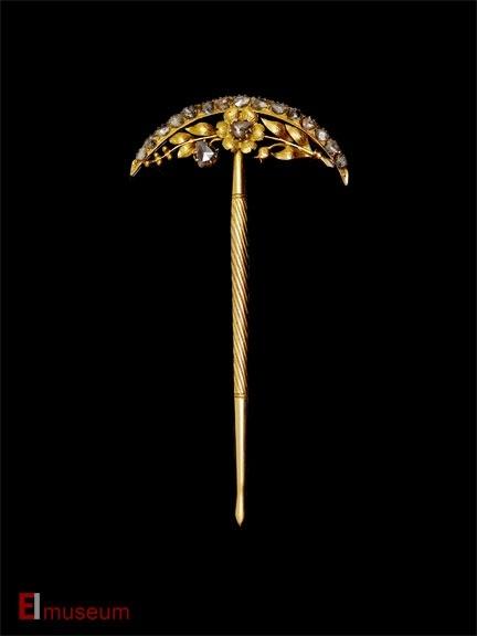 TUSUK RAMBUT Hairpin  Java, Indonesia Early 20th C Gold, diamonds (intan)