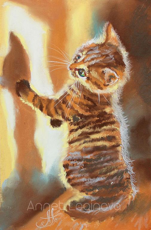 солнечный кот, картины пастелью, пастельная картина, коты в картинах, котенок, солнечный