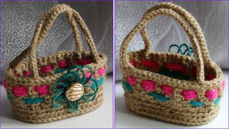 Вязание крючком корзинки