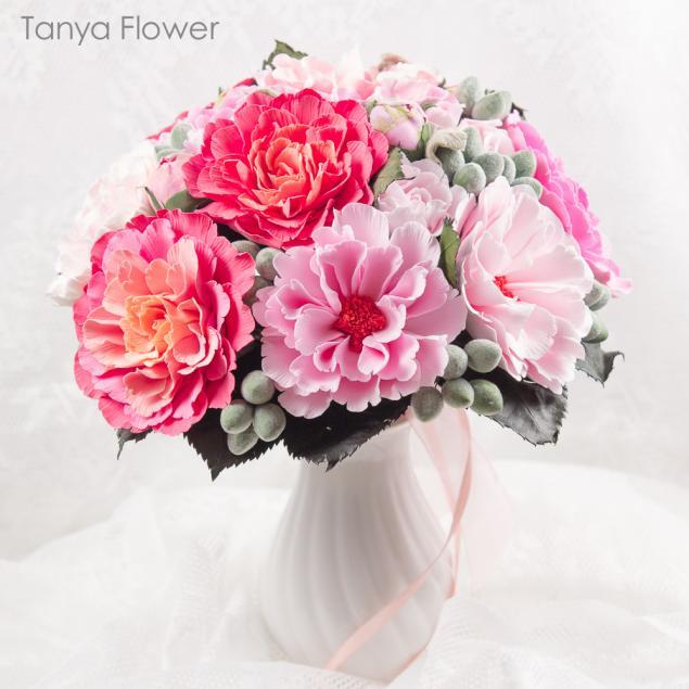 флористика, цветы из полимерной глины, букет цветов, букет пионов, розовые пионы, свадебный букет, букет невесты из пионов, ярко розовые пионы, таня фловер, deco