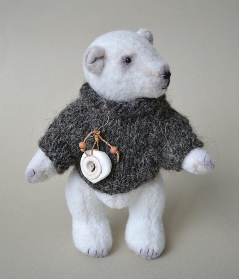 белый медведь, игрушки ручной работы, материалы для мишек