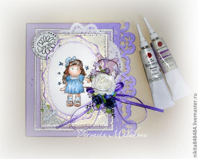Скрапбукинг открытка для девочки 10 лет с днем рождением