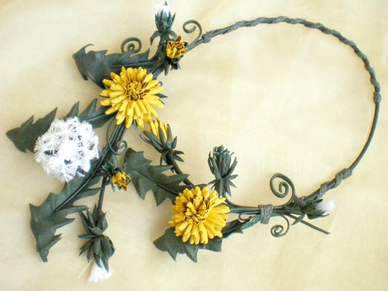кожаные цветы, одуванчик, цветок из кожи