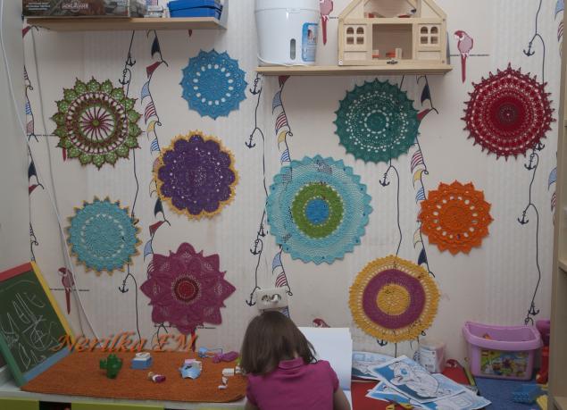 вязаная салфетка, идея, детская комната