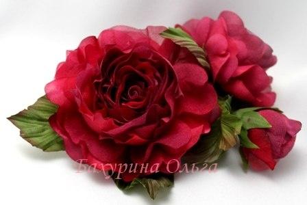 цветы из шелка, мастер-класс, розы