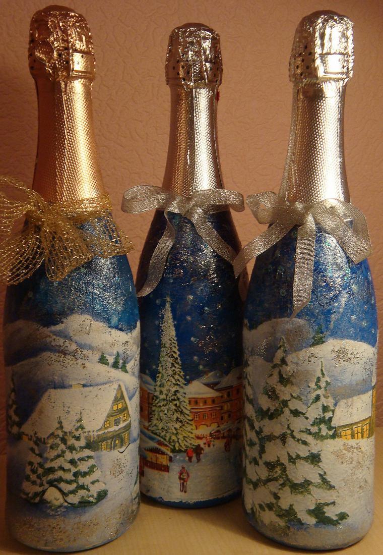 снимках декупаж новогодних бутылок шампанского фото есть паровозик, чертово