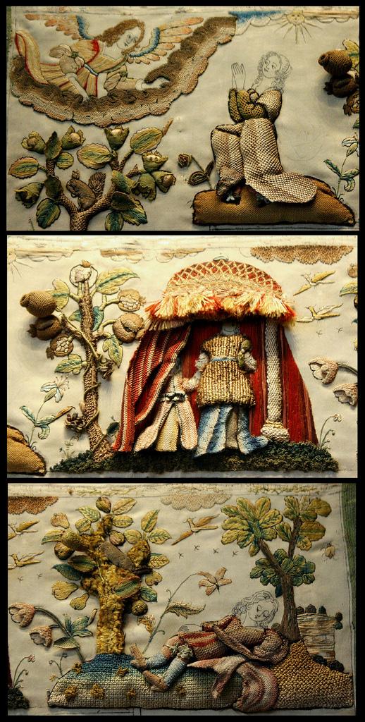 Старинная вышивка- мебель, картины, сундучки