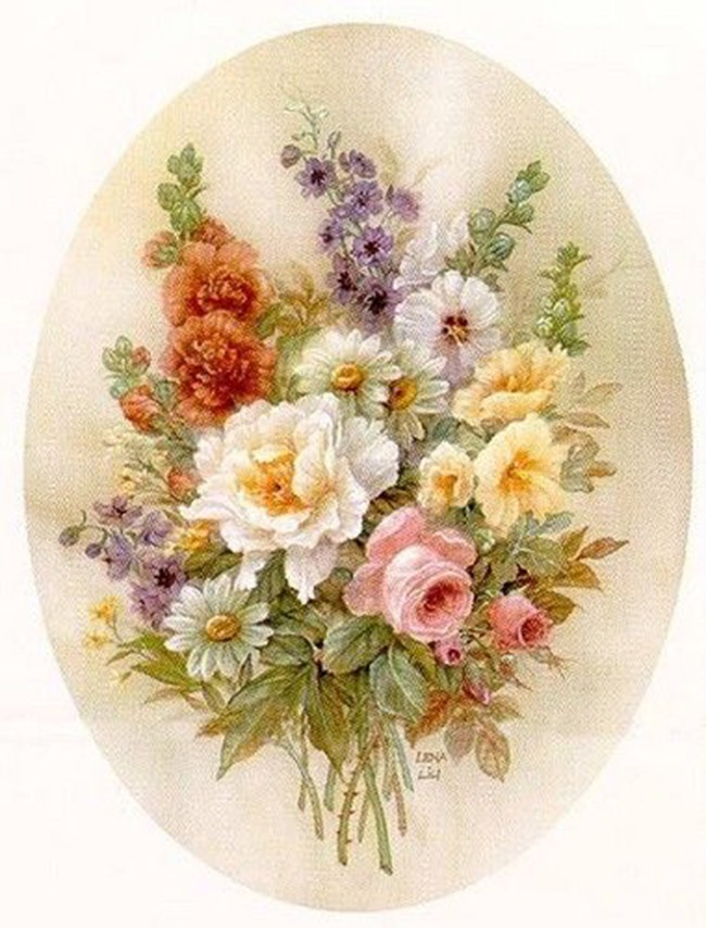 Для, овальная открытка с розами